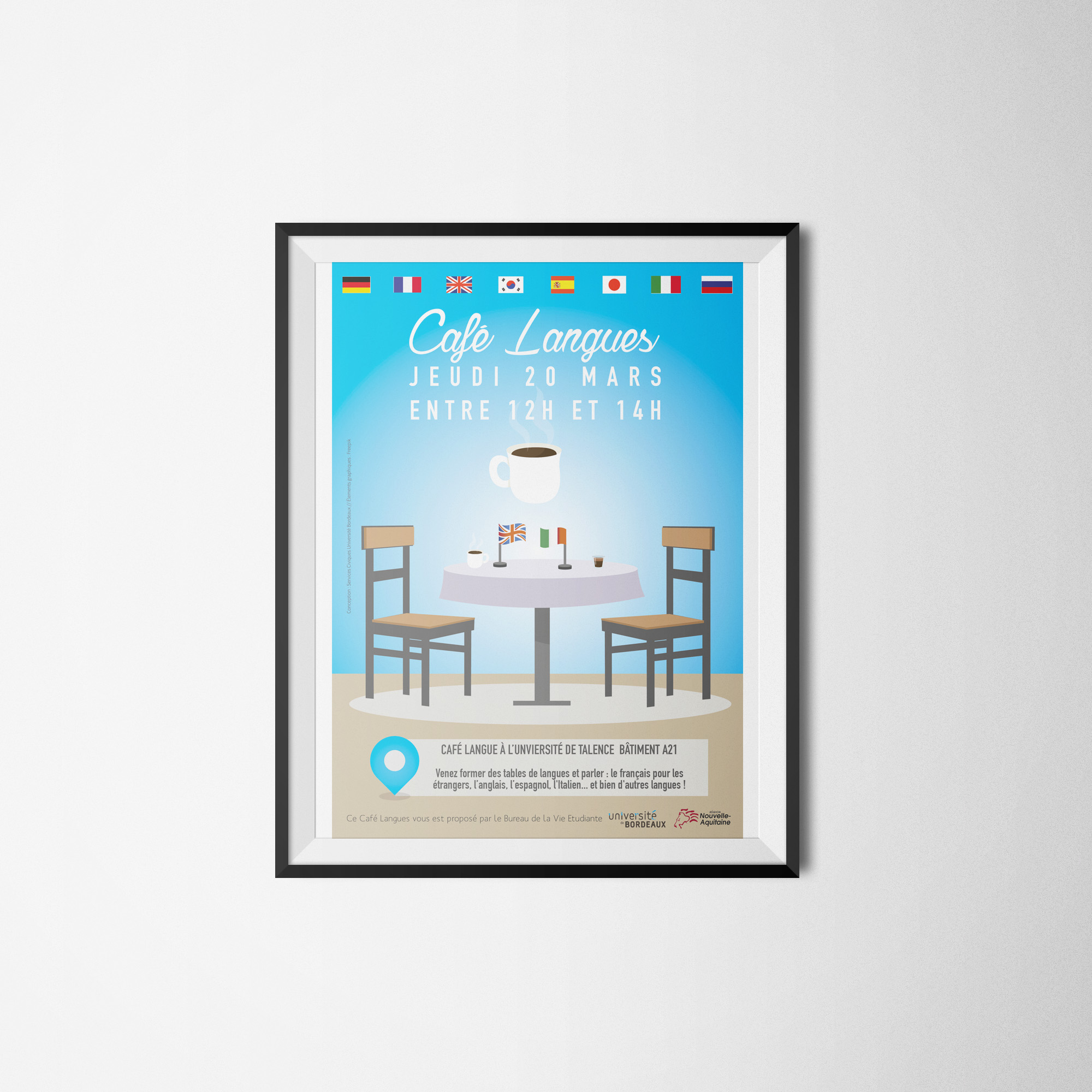 Affiche cafe langue talence
